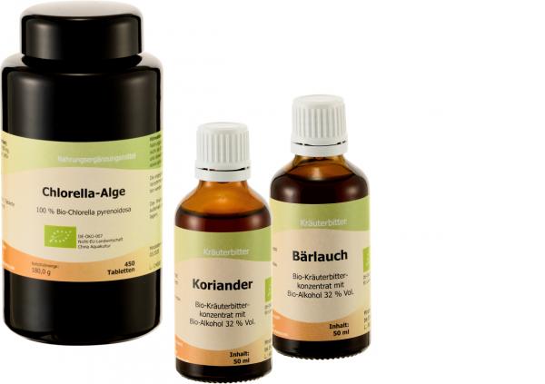 Ausleitung mit: Chlorella Bio, Bärlauch Bio, Koriander Bio